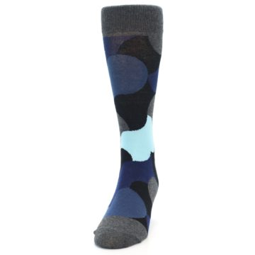 Image of Blue Grey Black Circles Men's Dress Socks (side-2-front-06)