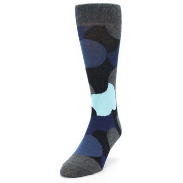 Image of Blue Grey Black Circles Men's Dress Socks (side-2-front-07)