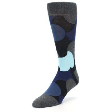 Image of Blue Grey Black Circles Men's Dress Socks (side-2-front-08)