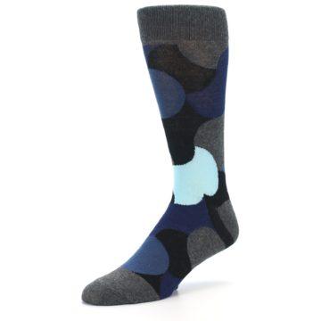 Image of Blue Grey Black Circles Men's Dress Socks (side-2-09)