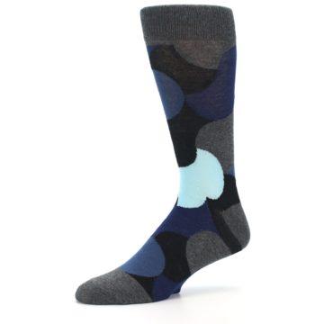 Image of Blue Grey Black Circles Men's Dress Socks (side-2-10)