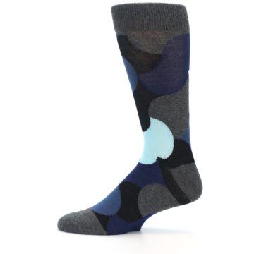 Image of Blue Grey Black Circles Men's Dress Socks (side-2-12)
