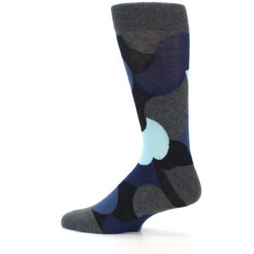 Image of Blue Grey Black Circles Men's Dress Socks (side-2-13)