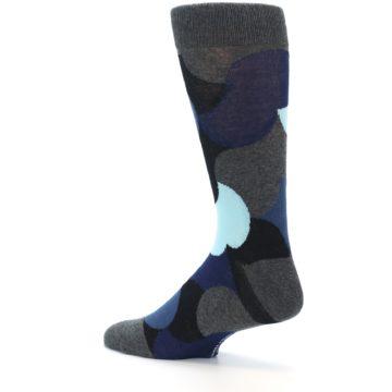 Image of Blue Grey Black Circles Men's Dress Socks (side-2-back-14)