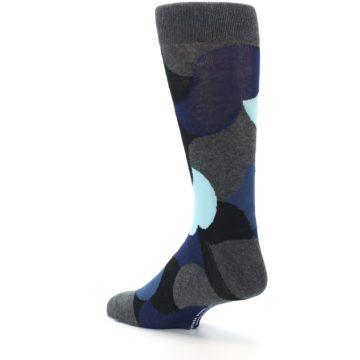 Image of Blue Grey Black Circles Men's Dress Socks (side-2-back-15)
