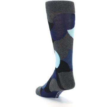 Image of Blue Grey Black Circles Men's Dress Socks (side-2-back-16)