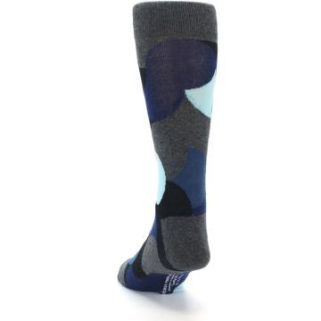 Image of Blue Grey Black Circles Men's Dress Socks (back-17)