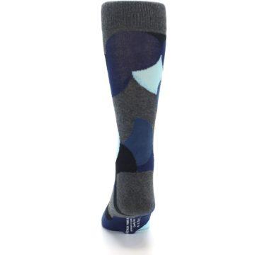 Image of Blue Grey Black Circles Men's Dress Socks (back-18)