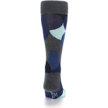 Image of Blue Grey Black Circles Men's Dress Socks (back-19)