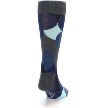 Image of Blue Grey Black Circles Men's Dress Socks (side-1-back-20)