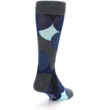 Image of Blue Grey Black Circles Men's Dress Socks (side-1-back-21)
