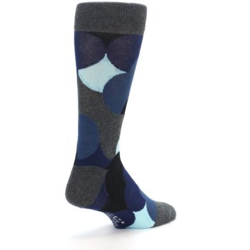 Image of Blue Grey Black Circles Men's Dress Socks (side-1-back-22)