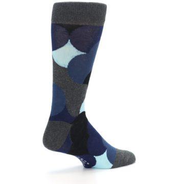 Image of Blue Grey Black Circles Men's Dress Socks (side-1-23)