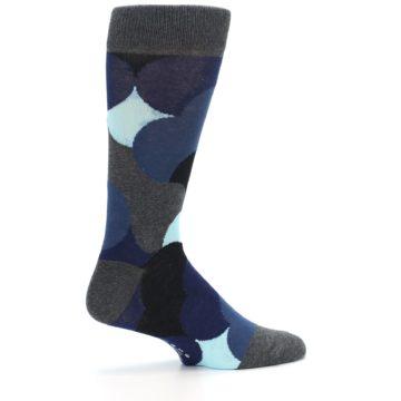 Image of Blue Grey Black Circles Men's Dress Socks (side-1-24)