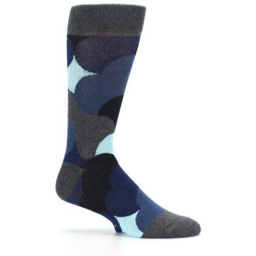 Image of Blue Grey Black Circles Men's Dress Socks (side-1-25)