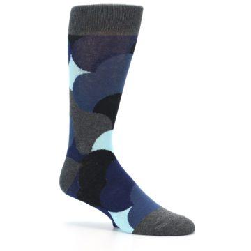 Image of Blue Grey Black Circles Men's Dress Socks (side-1-26)
