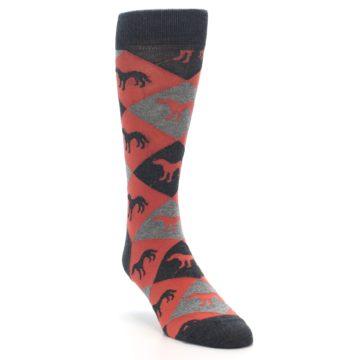 Image of Red Grey Lab Dog Argyle Men's Dress Socks (side-1-front-02)