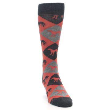 Image of Red Grey Lab Dog Argyle Men's Dress Socks (side-1-front-03)