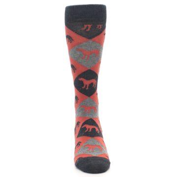 Image of Red Grey Lab Dog Argyle Men's Dress Socks (front-04)