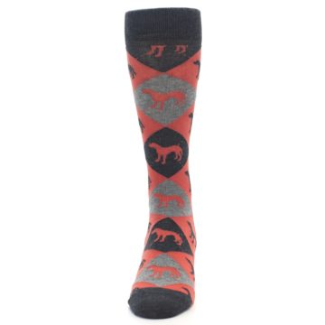 Image of Red Grey Lab Dog Argyle Men's Dress Socks (front-05)