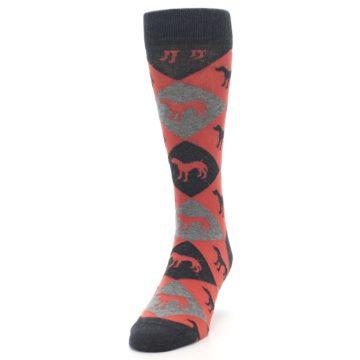 Image of Red Grey Lab Dog Argyle Men's Dress Socks (side-2-front-06)