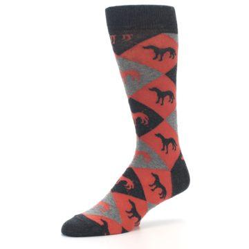 Image of Red Grey Lab Dog Argyle Men's Dress Socks (side-2-09)