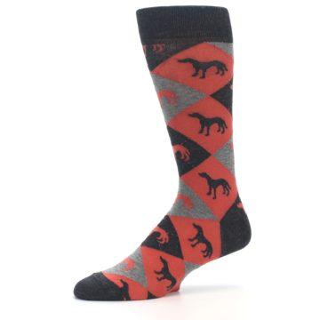 Image of Red Grey Lab Dog Argyle Men's Dress Socks (side-2-10)