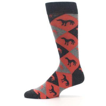Image of Red Grey Lab Dog Argyle Men's Dress Socks (side-2-11)