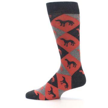 Image of Red Grey Lab Dog Argyle Men's Dress Socks (side-2-12)