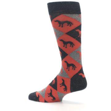Image of Red Grey Lab Dog Argyle Men's Dress Socks (side-2-13)