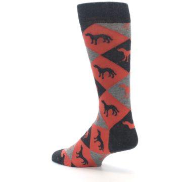 Image of Red Grey Lab Dog Argyle Men's Dress Socks (side-2-back-14)