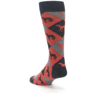 Image of Red Grey Lab Dog Argyle Men's Dress Socks (side-2-back-15)