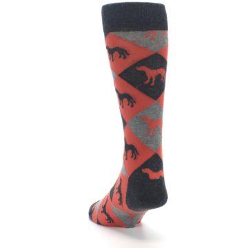Image of Red Grey Lab Dog Argyle Men's Dress Socks (side-2-back-16)