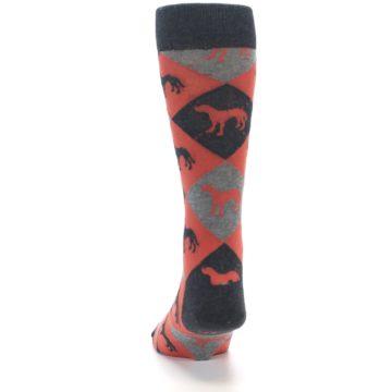 Image of Red Grey Lab Dog Argyle Men's Dress Socks (back-17)