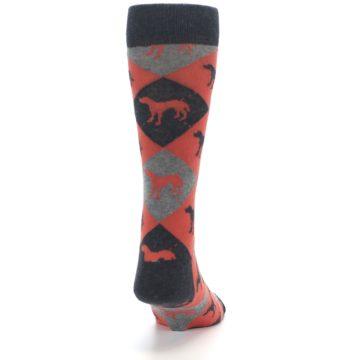 Image of Red Grey Lab Dog Argyle Men's Dress Socks (back-19)