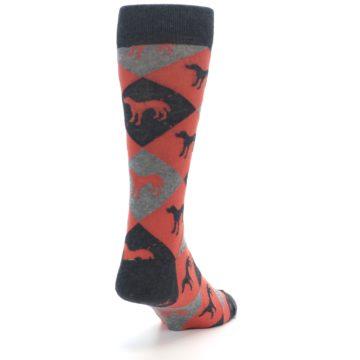 Image of Red Grey Lab Dog Argyle Men's Dress Socks (side-1-back-20)