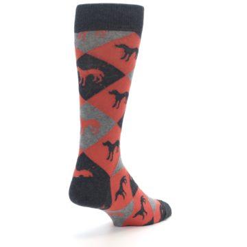 Image of Red Grey Lab Dog Argyle Men's Dress Socks (side-1-back-21)