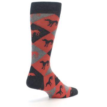 Image of Red Grey Lab Dog Argyle Men's Dress Socks (side-1-back-22)