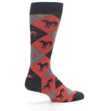 Image of Red Grey Lab Dog Argyle Men's Dress Socks (side-1-23)