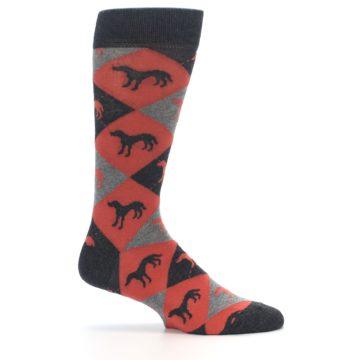 Image of Red Grey Lab Dog Argyle Men's Dress Socks (side-1-25)
