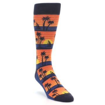 Image of Blue Orange Palm Trees Men's Dress Socks (side-1-front-02)