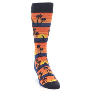 Image of Blue Orange Palm Trees Men's Dress Socks (side-1-front-03)