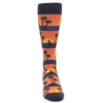 Image of Blue Orange Palm Trees Men's Dress Socks (front-04)