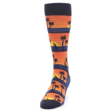 Image of Blue Orange Palm Trees Men's Dress Socks (side-2-front-06)