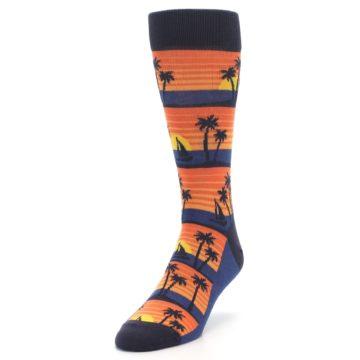 Image of Blue Orange Palm Trees Men's Dress Socks (side-2-front-07)