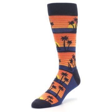 Image of Blue Orange Palm Trees Men's Dress Socks (side-2-front-08)
