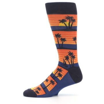 Image of Blue Orange Palm Trees Men's Dress Socks (side-2-11)