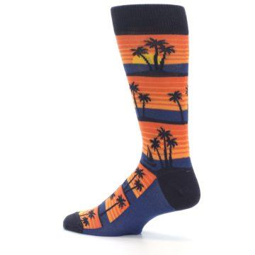 Image of Blue Orange Palm Trees Men's Dress Socks (side-2-13)