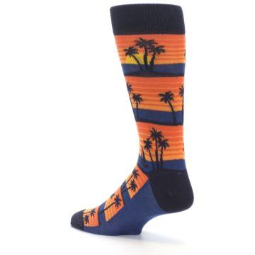 Image of Blue Orange Palm Trees Men's Dress Socks (side-2-back-14)