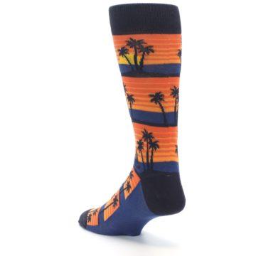 Image of Blue Orange Palm Trees Men's Dress Socks (side-2-back-15)